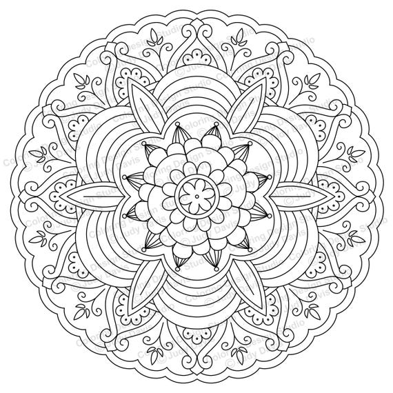 Mandala to Color Adult Coloring Page Instant Download PDF