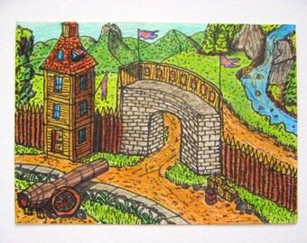 "Fantasy Art print- castle gates drawing print ""Tangech Main Gate"", Fantasy World Series- castle fort art cottage print in many measures"