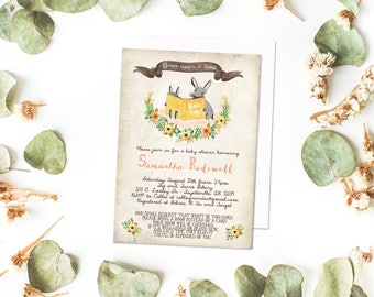 Storybook Invitation- Once Upon a Time book shower invite, bring a book, storybook shower invitation, rustic book shower, storybook theme