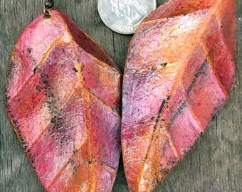 On Sale Pink Coral Gold Leather Leaf Earrings