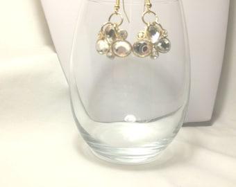 Earrings, Prom Earrings,Wedding Earrings,Bridal Earrings,Crystal and Gold Cluster,Crystal Jewelry,Bridal Jewelry,Prom Jewelry by Cindydidit