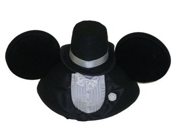 Personalized Mickey Mouse Tuxedo Groom Ear Hat