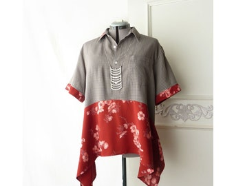 XL Upcycled Boho tunic top, red, cherry blossom, rayon, upcycled, lagenlook, Womens, gray taupe check, OP brand, asymmetrical, sharkbite