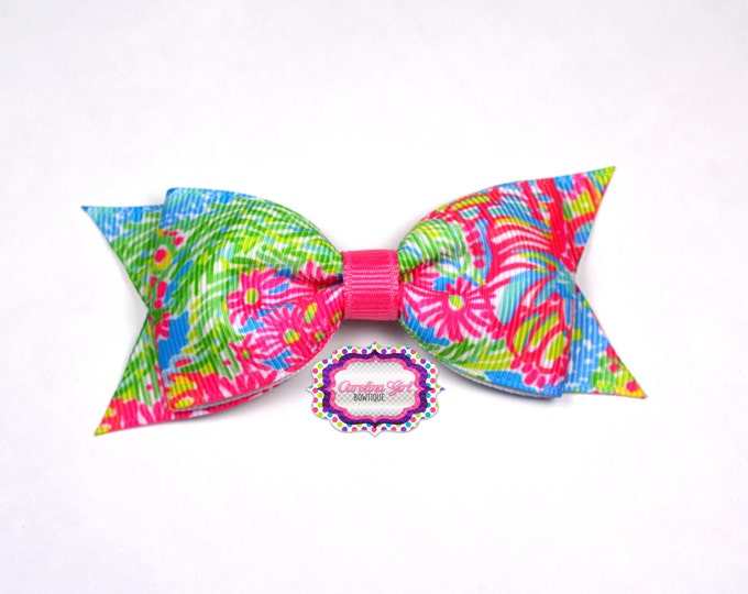 "Multi Lovers Coral ~ 3.5"" Hairbow ~ Lilly Inspired ~ Small Hair Bow ~ Girls Barrette ~ Toddler Bow ~ Hair Clip ~ Girls Hair Bow"