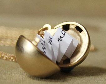 Secret Message Locket - Matte Gold Vintage Ball Locket Necklace - makes a great gift