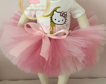 Hello kitty birthday outfit - first birthday tutu outfit - pink and gold hello kitty birthday outfit - baby girl 1st birthday outfit