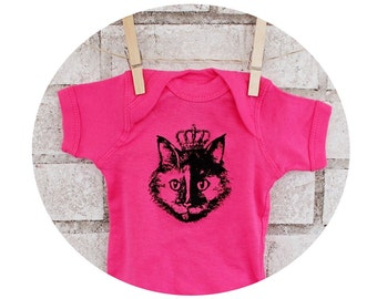 Cat Wearing Crown Baby Onepiece,Crowned Princess Kitty, Short Sleeved, Hot Pink Baby Bodysuit, Baby Girl, Shower Gift Family Pet Screenprint