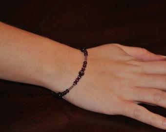 Purple Cat's Eye Memory Wire Bracelet