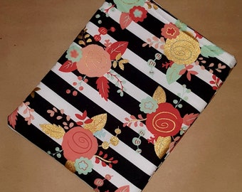 XL Book Sleeve - Flowered Stripe