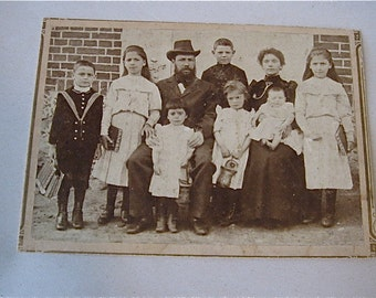 Antique Cabinet Photograph  -  Immigrant Family - Russian  or East European circa 1890's