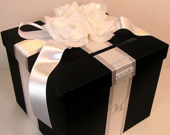 Black and White Wedding Card Box Gift Card Box Money Box Holder--Customize your color (10x10x9)