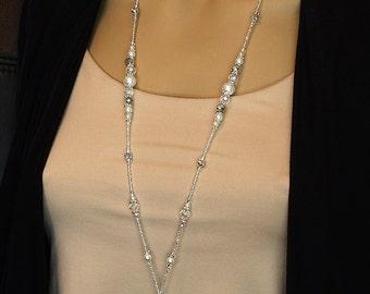 Silver & Pearl Beaded Lanyard, elegant ID badge holder magnetic clasp, fancy silver lanyard, teacher gift, nurse lanyard, breakaway lanyard