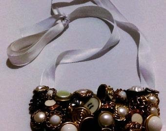 Black/Gold Pearl Bib Necklace
