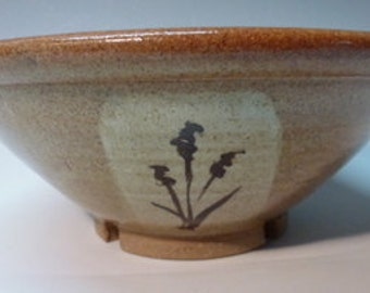 Nutmeg  handmade Stoneware Ceramic Bowl with Cattails hand made by Ruth Sachs