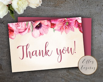Pink Flowers Thank You Card Printable Thank You Cards Flat Cards Pink Cards Digital Cards Instant Download Peonies Thank You Cards White