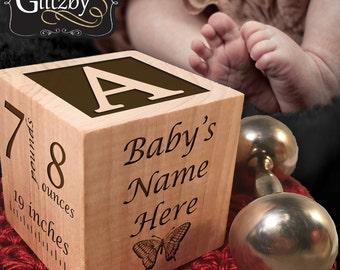 YOUR Baby's Handprint and Footprint Engraved, Personalized Baby Block, New Baby Keepsake Block, Newborn Keepsake