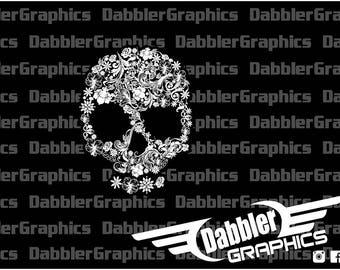 Floral Skull Pretty Delicate Decal Sticker