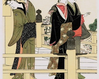 "Japanese Ukiyo-e Woodblock print, Kitao Masanobu, ""Women Of The Balcony"""