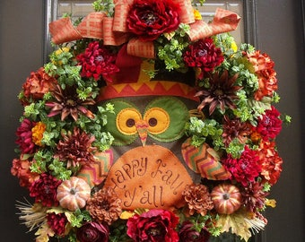 Owl Wreath, Fall Wreath, Fall Decor, Front Door Wreath Fall, Fall Owl Wreath, Thanksgiving Wreath, XL Fall Wreaths