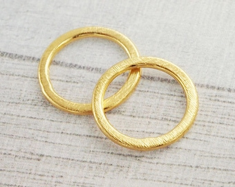2 of Karen hill tribe 24k Vermeil Style Brushed Circle Closed Jump Rings 16 mm. :vm0582