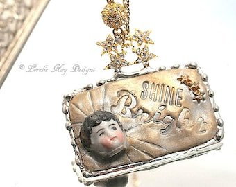 Shine Bright Necklace Frozen Charlotte China Doll Head Mixed Media Solder and Clay Pendant Lorelie Kay Original