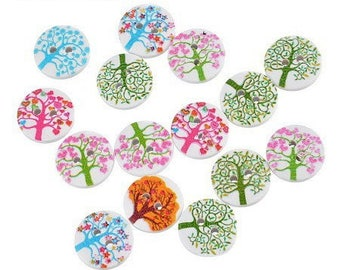 12 buttons tree of life wooden 15 mm