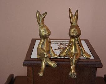 Pair of Vintage Brass Sitting  Rabbits.