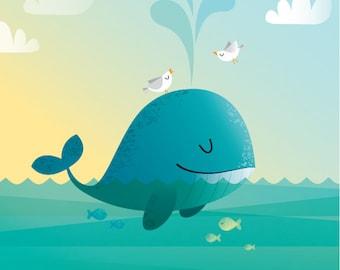 Whale nursery print, kids illustration, kids room decor, children's art print, nursery decor, childrens illustration, whale print, wall art