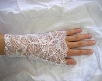Very fine white lace fingerless gloves, wedding