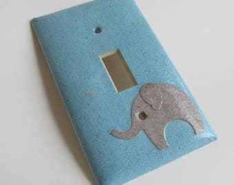 Elephant on Blue Light switch Plate- single- Recycled Materials