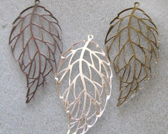 Large Leaf Filigree Pendants Choose Your Finish 60mm x 30mm 521