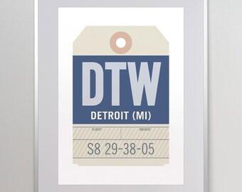 Detroit, Michigan MI. DTW. Detroit Metropolitan Airport. Luggage Tag Poster. Baggage Tag Print. Flight Tag. Airport Code. Aviation Poster.