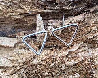 Triangle silver studs. Handmade Sterling silver earrings