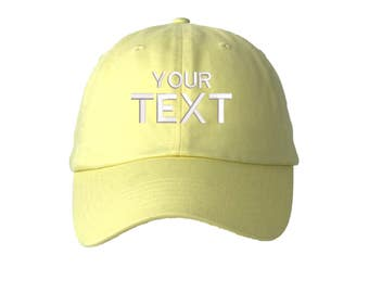 Custom Dad Hat Embroidered Baseball Cap,Your Own Personalized Hat Custom Hat on a Curved Brim Baseball Cap,Choose Your Text, Soft Yellow