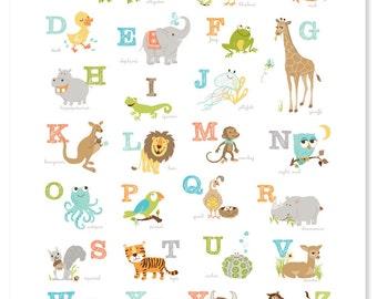 Animal Alphabet Poster, Baby Shower Gift, Animal Poster, ABCs, Kids Room Print, Nursery Print, Playroom Art