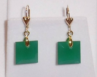 Green Jade Earrings China Green Jade stones 25ct Natural Untreated Square gemstones, 14kt yellow gold Heart Leverback Pierced Earrings