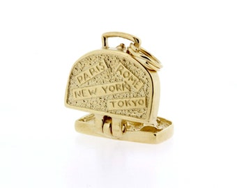 14K Yellow Gold Luggage Charm with Tokyo, Paris, N.Y., and Rome