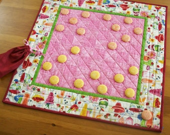 Checkers Game Board / Quilted Table Runner - Foofy Drinks in Tropical Pink, Yellow and Orange