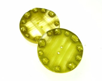 Buttons, chartreuse green resin