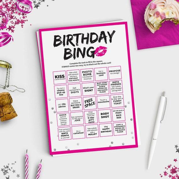 Fun Adult Birthday Game Birthday Bingo Scavenger Hunt