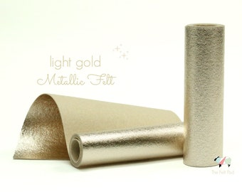 Metallic Felt - BRUSHED LIGHT GOLD Metallic Felt  - Wool Felt - Metallic Wool Felt