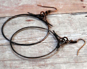 Copper Wire Wrapped Hoop Earrings, Hand Hammered, Antiqued Patina, Large Size 1 3/4 Inch Diameter, Arts & Crafts, Oriental Inspiration