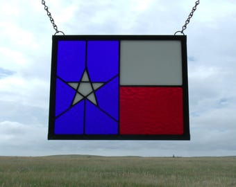 Stained Glass Texas Flag Window Panel, Custom Stained Glass Artist for Hire