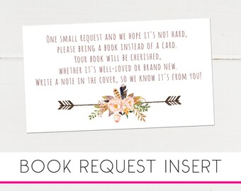 Boho Baby Shower, Instant Download Baby Shower, Please Bring a Book, Instead of a Card Insert, Book Request Card, Printable