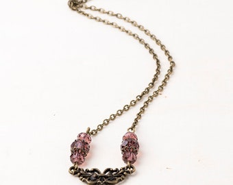 Gothic/Victorian Filigree Amethyst Crystal Pendant Necklace with Antique Bronze Chain and Filigree Bead Caps