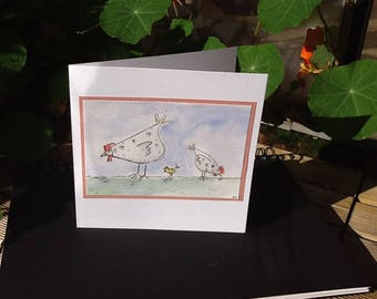Hens card, quirky hens, hand drawn card, watercolour card, chicken lover, illustrated card, hen and chicks, to frame, funny birds, simple