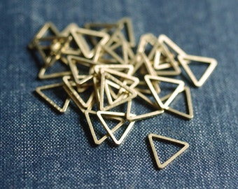 NEW Equilateral Triangles 12mm (Thicker) - Raw Brass - 48pcs - Triangle Connector, Brass Triangle Link, Triangle Ring Minimal Modern