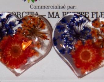 Heart flowers medium button earrings