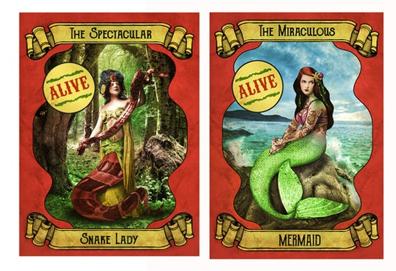 2 X Sideshow Posters The Miraculous Mermaid Spectacular Snake