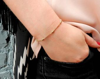 14kt Gold Chain Bracelet, Satellite Bead Bracelet, Minimalist Jewelry, Dainty Simple Everyday Bracelet, Bridesmaid Gift, Mothers Day Gift